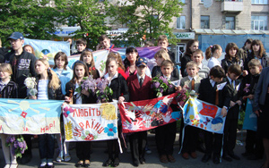 Students with Ribbons in Lugansk